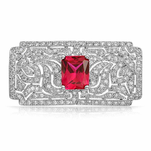Bling Jewelry Red Simulated Ruby CZ Art Deco Style Leaf Brooch Pin Rhodium Plated