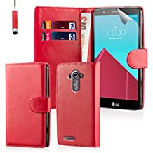32nd® Book wallet PU leather case cover for LG G4 + screen protector, cleaning cloth and touch stylus - Red