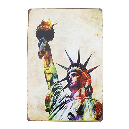 Oil Gas Map (12x8 Inches Pub,bar,home Wall Decor Souvenir Hanging Metal Tin Sign Plate Plaque (The Statue of Liberty))