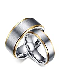 ROWAG 8MM Men Gold Plated Titanium Stainless Steel Couple Rings for Him and Her Pink 6MM Women Wedding Promise Engagement Bands