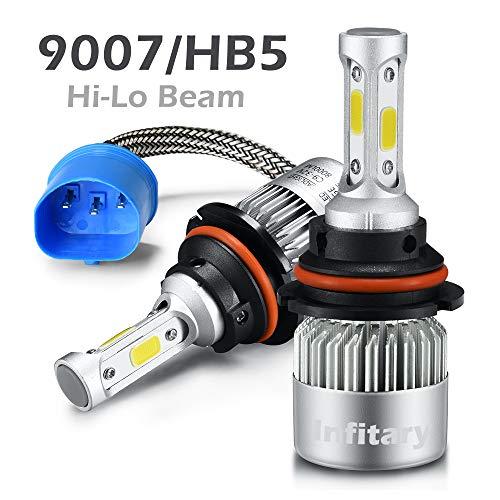 (INFITARY 9007 Hi/Lo LED Headlight Bulbs Hi/Lo Beam Conversion Kit H4/9003/HB2 Super Bright COB Plug Play Auto Car Motorcycle Headlamp Bulb 7200LM 6500K Cool White LED Headlight Bulbs)