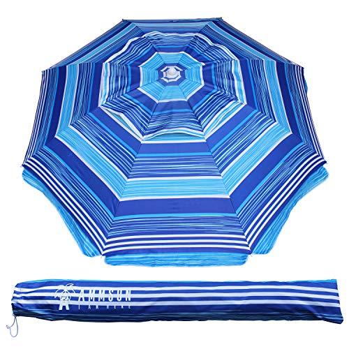 AMMSUN 6.5 Ft Outdoor Patio Beach Umbrella Sun Shelter with Tilt and Carry Bag UPF 50+ Multicolor Blue