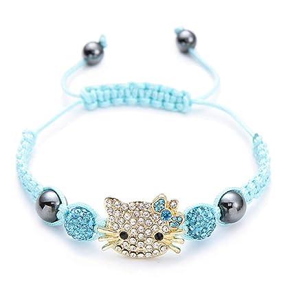 QWERST Bracelet Lindo Gato Dibujos Animados Hechos A Mano De Plata Pulsera Perlas De Cristal Conectado