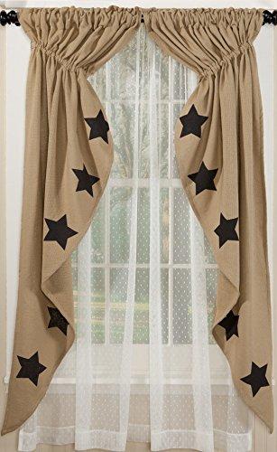 Tan Star - Olivia's Heartland Deluxe Burlap Natural Tan Stencil Star Prairie Curtain