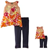 Dollie & Me Little Girls' Asymmetric Top And Jegging Set With Doll Outfit