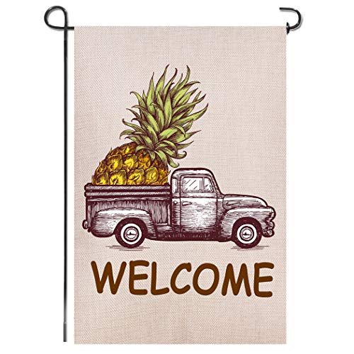 - Shmbada Truck Pineapple Summer Welcome Burlap Garden Flag, Premium Material Double Sided, Seasonal Spring Outdoor Decorative Small Flags for Home Yard Lawn Patio, 12 x 18 inch