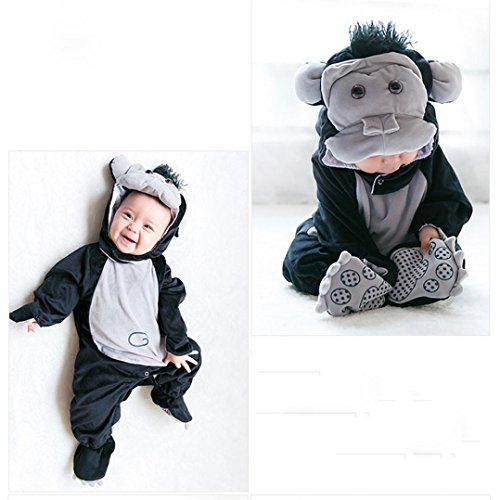 TRENDINAO Baby Toddler Infant Clothes Halloween Animal Gorilla Bodysuit Footies Playsuit Romper+Hat+Shoes Clothes Outfit -