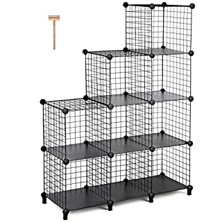 TomCare Cube Storage 9 Cube Metal Wire Cube Storage Storage Cubes Shelves  Cube Closet Organizer