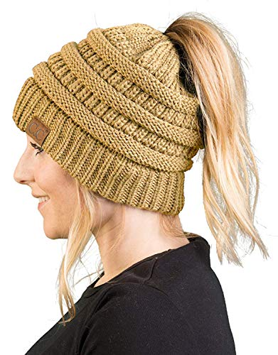 BT-6020a-13 Messy Bun Womens Winter Knit Hat Beanie Tail - Camel (Best Thing Since Slice Bread)