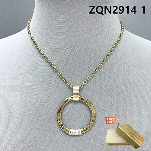 - Simple Gold Finished Silver Color Wired Hammered Circle Shape Pendant Necklace Set For Women + Gold Cotton Filled Gift Box for Free