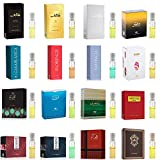 21 Swiss Arabian Designer Fragrance Samples   Perfume for Women, Cologne for Men and Unisex   3mL x 16 Parfum Mini Spray Vials   All The Best Sellers and New Launches Including Oud Wood Testers