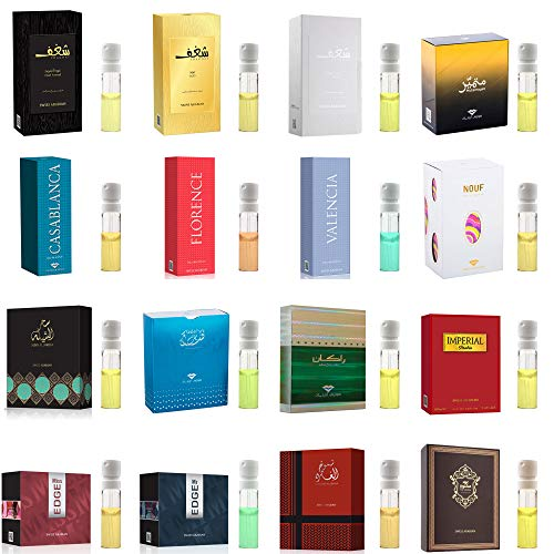 26 Swiss Arabian Designer Fragrance Samples | Perfume for Women, Cologne for Men and Unisex | 3mL x 26 Parfum Mini Spray Vials | All The Best Sellers and New Launches Including Oud Wood Testers (Versace X Gucci)