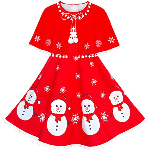 Sunny Fashion Girls Dress Snowman Red Cape Cloak Christmas New Year Size 14