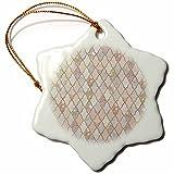 3dRose Uta Naumann Faux Glitter Pattern - Luxury Trendy Rosegold And Grey Moroccan Arabic Quatrefoil Pattern - 3 inch Snowflake Porcelain Ornament (orn_268958_1)