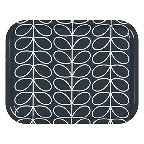 (Orla Kiely | Medium Serving Tray | Linear Stem | Slate Grey Colour )
