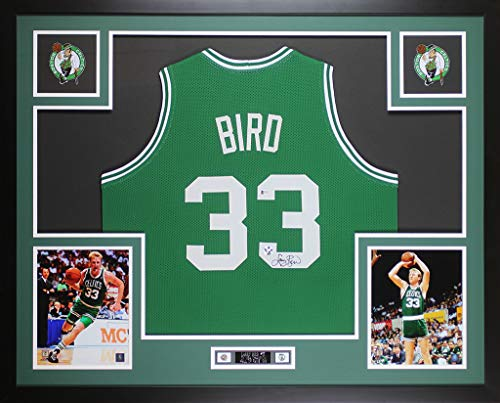 Hand Signed Green - Larry Bird Autographed Green Boston Celtics Jersey - Beautifully Matted and Framed - Hand Signed By Larry Bird and Certified Authentic by Beckett - Includes Certificate of Authenticity