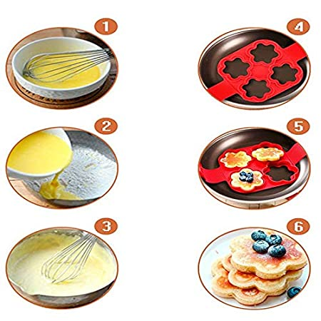 Amazon.com: Pancake Art Kit - Moldes Para Pancakes - Silicone Pancake Mold Heart Flower Round Shape Flippin Fantastic Egg Ring Maker for Omelets Baking ...
