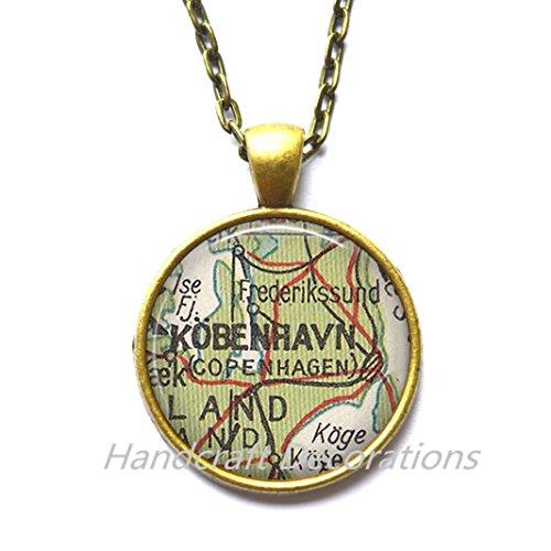 Charming Necklace Copenhagen map Necklace, Copenhagen Necklace, Copenhagen map Pendant, Copenhagen Pendant,A0003]()