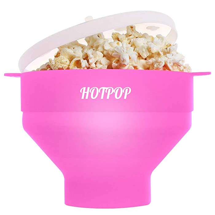 The Original Hotpop Microwave Popcorn Popper, Silicone Popcorn Maker, Collapsible Bowl Bpa Free and Dishwasher Safe- 12 Colors Available (Pink)