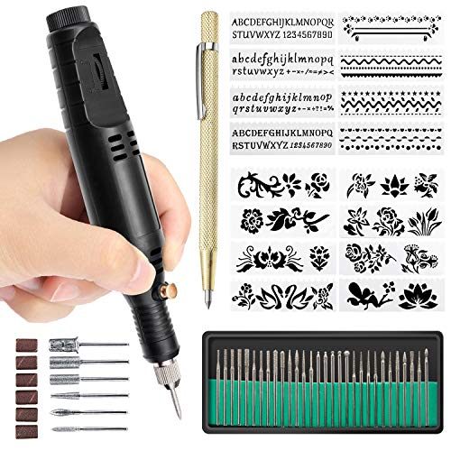 Electric Micro Engraver Pen,TaoTens Mini DIY Vibro Engraving Tool Kit for Metal Glass Ceramic Plastic Wood Jewelry W/Scriber Etcher 30 Bits and 6 Polishing Heads and 16 Stencils