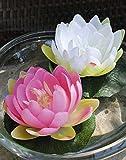 Lot 3 x Nénufar flottant SAFINA, pétales de fleurs de couleur blanche, Ø 15 cm - 3 pcs Lotus artificiel / Nénuphar en tissu - artplants