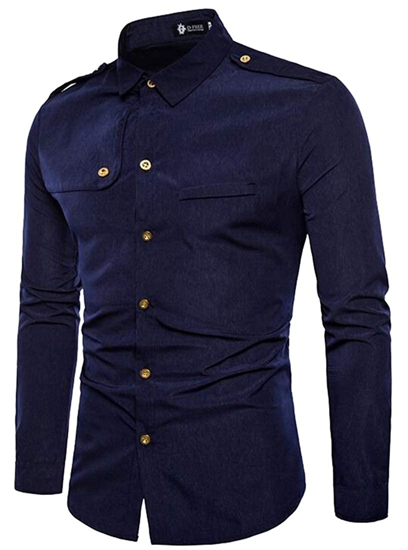 M/&S/&W Mens Business Long Sleeve Shoulder Straps Solid Button Down Dress Shirts