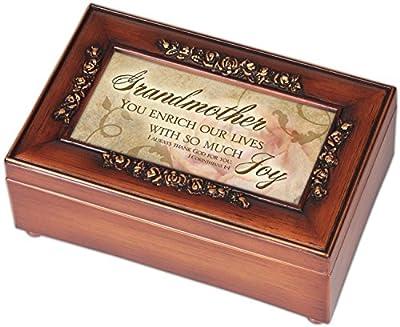 Grandmother Inspirational Decorative Woodgrain Rose Music Box - Plays How Great Thou Art