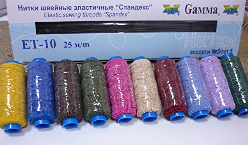 Elastic Sewing Threads Gamma Spandex Hand & Machine Embroidery Sewing Kit Stretch Threads Assorted Lot Mixed Set of 10 Spools Tubes Color Multicolor #5