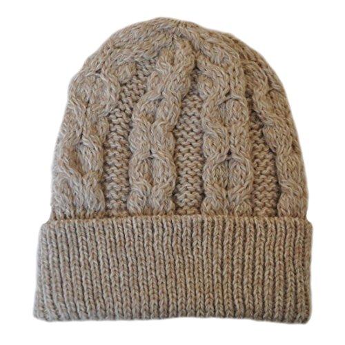 Aran Crafts 100% Merino Wool Honeycomb Hat parsnip