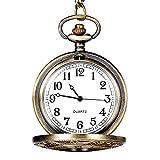 Mens Pocket Watch - Napoo Vintage Bronze Tone Spider Web Hollow Bird Print Chain Pendant Watch t