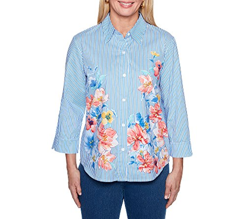 Alfred Dunner Women's Petite Stripe Floral Woven Top, Multi, 14P
