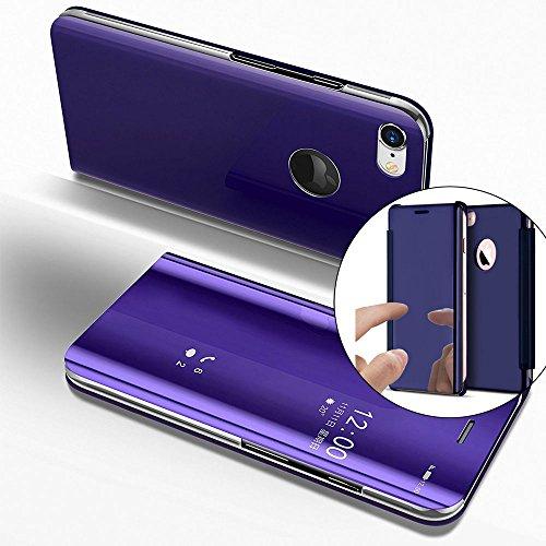 Funda iPhone 6S 4.7 Inch Case, Carcasas para iPhone 6, LEMAXELERS iPhone 6 6S Funda de lujo con espejo Caja de maquillaje con marco de cuero de la PU Flip Bookstyle Funda con billetera [Pie de apoyo]  Mirror PU : Purple
