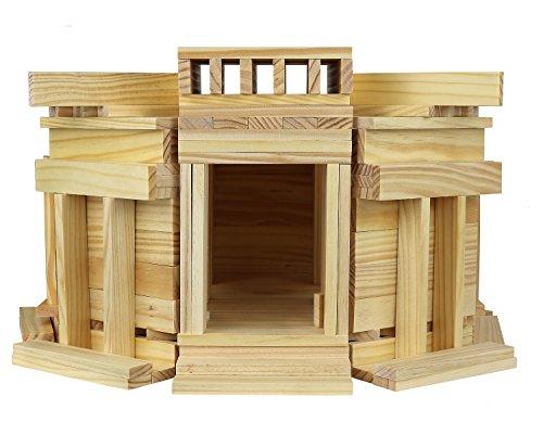 Click N' Play 100% Real Wooden Blocks Set, Building Blocks and Stacking Blocks, Natural Wood Color, Building and Stacking Toy Block - 208-piece Set
