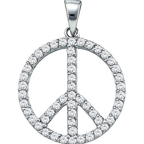 14K White Gold Diamond Peace Sign Circle Necklace Pendant 3/4 Ctw.