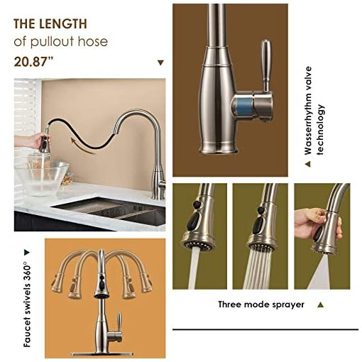 Kitchen Kitchen Faucet with Pull Down Sprayer Brushed Nickel Modern Single Handle Kitchen Sink Faucets Stainless Steel High arc… modern sink faucets