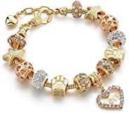Capital Charms Gold Plated Charm Bracelet Set with Crystal Beads, Gifts for Women and Girls, Universal Fit wit