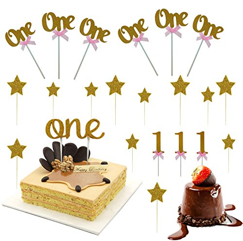 ISusser 1st First Birthday One Cake Topper Decoration Single Sided Gold Glitter With 6 Golden
