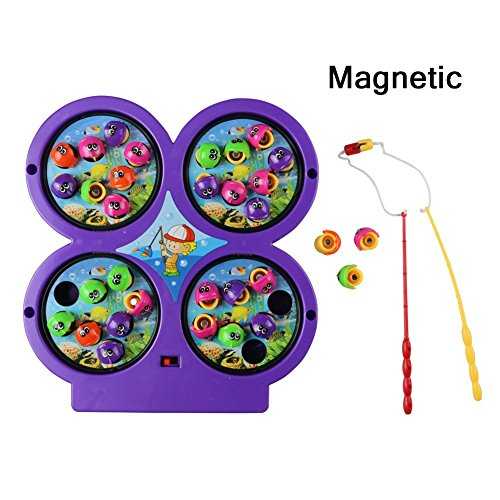 Jerryvon Mini Fishing Toy Electronic Magnetic Fishing Board Game Rotating with Music Gift for Kids 3 4 5 Years Old ,Color Vary