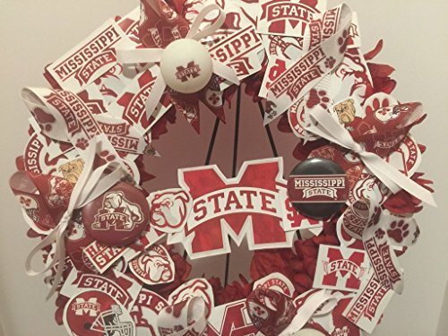 COLLEGE PRIDE - MSU -MISSISSIPPI STATE UNIVERSITY - BULLDOGS - DAWGS - DORM DECOR - DORM ROOM - COLLECTOR WREATH - MAROON DAHLIAS AND CHRYSANTHEMUMS by Peters Partners Design (Image #4)