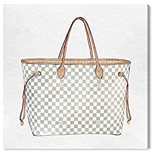 The Oliver Gal Artist Co. Fashion and Glam Wall Art Canvas Prints 'Royal Handbag Ivory' Home Décor, 36″ x 36″, White, Brown