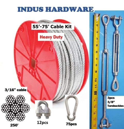 Advantage Heavy Duty 70′ Indoor/Outdoor Cable Kit for Baseball Softball Batting Cage Net with 3/8″ Turnbuckles, 3/16″ Cable Clamps, and zinc carabiners