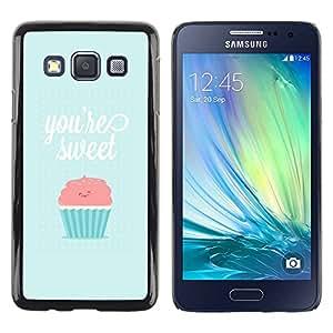 TopCaseStore / la caja del caucho duro de la cubierta de protección de la piel - Sweet Cupcake Pink Blue - Samsung Galaxy A3 SM-A300