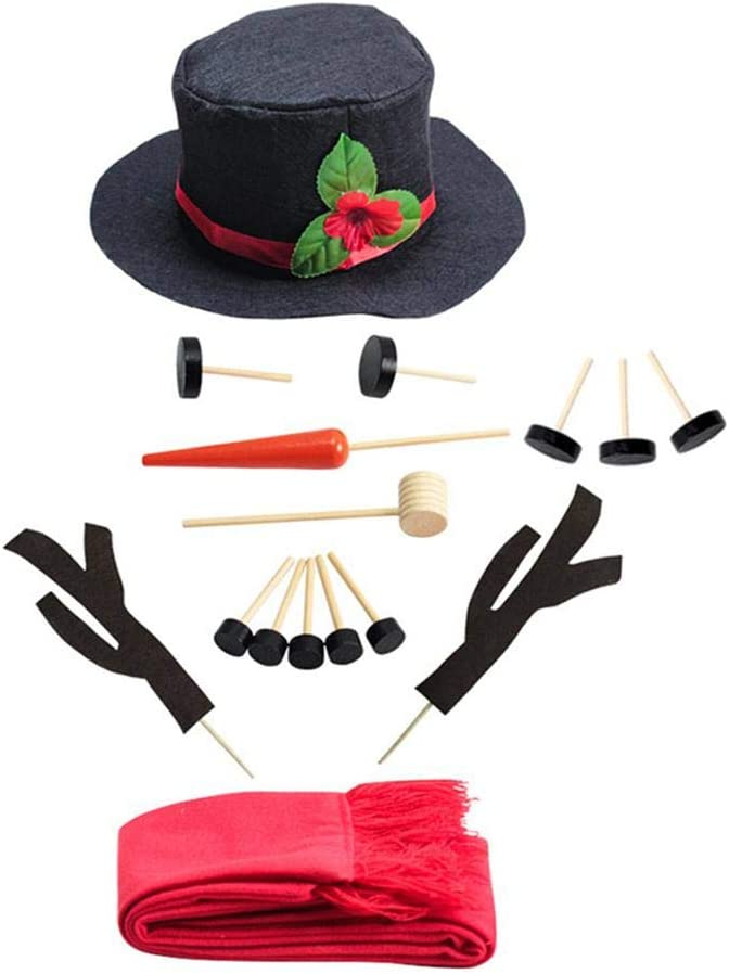 KOBWA Snowman Kit Includes Hat Scarf Wooden Carrot-Nose Arms Pipe and Black Dots for Eyes Mouth Buttons Snowman Decorating Kit Snowman Making Kit Winter Outdoor Fun Toys for Kids Christmas