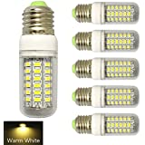 RCLITE 6-Pack 7W E26/E27 56-LED 5730 SMD LED Corn Bulb,60 Watts Replacement Incandescent Bulbs,Warm White light 3000K,450 Lumens, Energy Saving Home Light Bulbs Lamp with Cover(No-Dimmable)