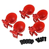 Red Plastic Chicken Bird Automatic Watering Dispenser Water Feeder Drinking Cup Pack of 5