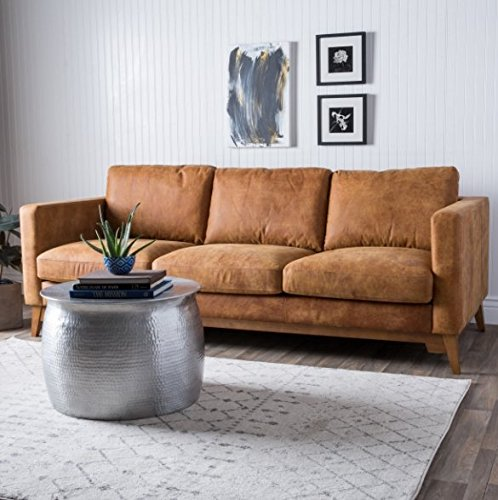 Elegance Mid-century Italian Leather Sofa