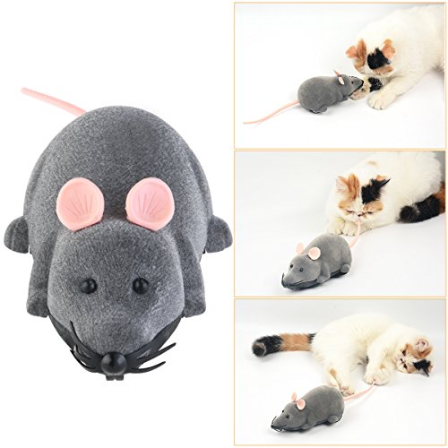 ROSENICE Electronic Remote Control Rat Plush Mouse Toy for Cat Dog Kid (Gray) 6