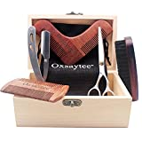 Beard Care Set, Beard Brush + Beard Comb + Beard Shaper + Scissors + Razor Set for Men, Beard Care Grooming Kit for Home and Travel with Wooden Box, Ideal Gift for Men-Dad's Birthday Father's Day