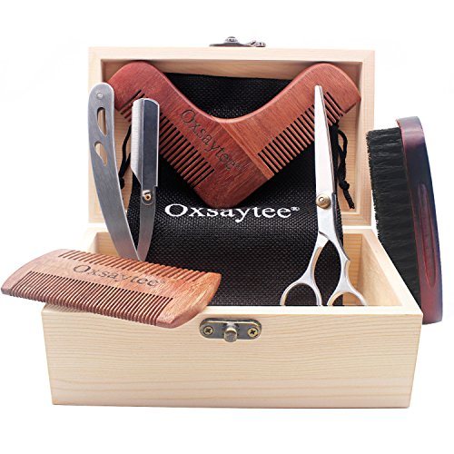 Beard Care Kit Beard Brush  Beard Comb  Beard Shaper  Scissors  Razor Set for Men Beard Grooming Kit for Home and Travel with Wooden Box Ideal Gift for MenDad#039s Birthday Father#039s Day