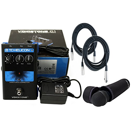 TC Helicon VoiceTone Single C1 Vocal Pitch-Correction Effects Pedal w/TC Helicon MP-75 Microphone and 2 FREE (20') XLR Cables by TC Electronic